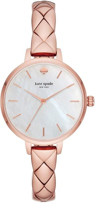 Kate Spade KSW1466 Metro Mother of Pearl Dial Rose-Gold Quilted Effect Stainless Steel Half Bangle Ladies Watch