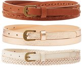 Charlotte Russe Plus Size Braided & Metallic Belts - 3 Pack