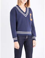 Claudie Pierlot V-neck cotton-blend sweatshirt