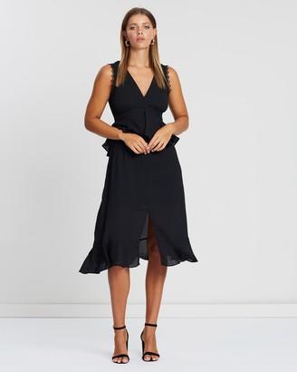 Atmos & Here Border Peplum Midi Dress