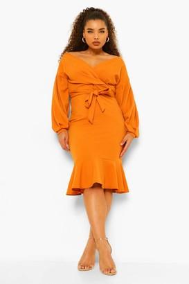 boohoo Plus Off The Shoulder Frill Hem Midi Dress