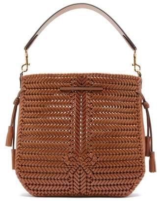 Anya Hindmarch Neeson Woven-leather Bucket Bag - Womens - Brown