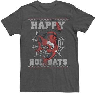 Marvel Men's Spider-Man Happy Holidays Ugly Sweater Graphic Tee