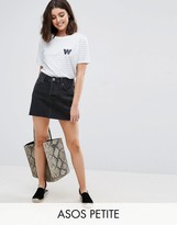 Asos Denim Low Rise Skirt in Washed Black