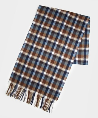 Drakes Small Block Check Scarf in Brown
