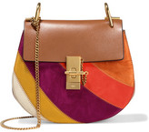 Chloé Drew Small Leather And Suede Shoulder Bag - Light brown