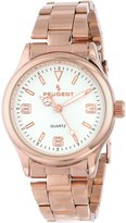 Peugeot Women's 7064RG Square Rose Gold and white Enamel Link Bracelet Watch