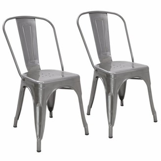 Barton Set of (2) Bistro Metal Chair Vintage Side Chairs Bar Pub Counter with Backrest Stackable Chair (Silver)