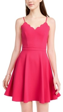 B. Darlin Juniors' Scalloped Fit & Flare Dress