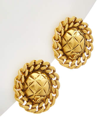 Chanel Gold-Tone Quilted & Chain Earrings