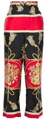 Gucci Cropped Printed Silk-twill Straight-leg Pants