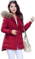 Yinhan YH Womens Winter Midi-pattern Loosen Hooded Down Feather Coat L