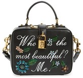 Dolce & Gabbana 'Small - Most Beautiful' Crystal Flower Embellished Leather Handbag - Black