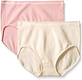 Ellen Tracy Women's Seamless 2 Pack Full Brief Panty