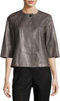 Lafayette 148 New York Athea Leather Topper Jacket, Gray