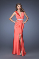 La Femme 19751 Bead Embellished V-neck Sheath Dress