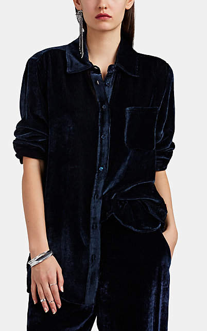 Sies Marjan Women's Sander Silk-Cotton Corduroy Blouse - Navy