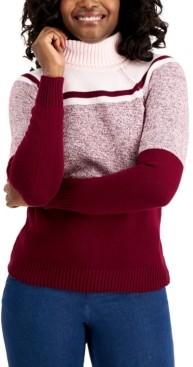 Karen Scott Cotton Colorblocked Turtleneck Sweater, Created for Macy's