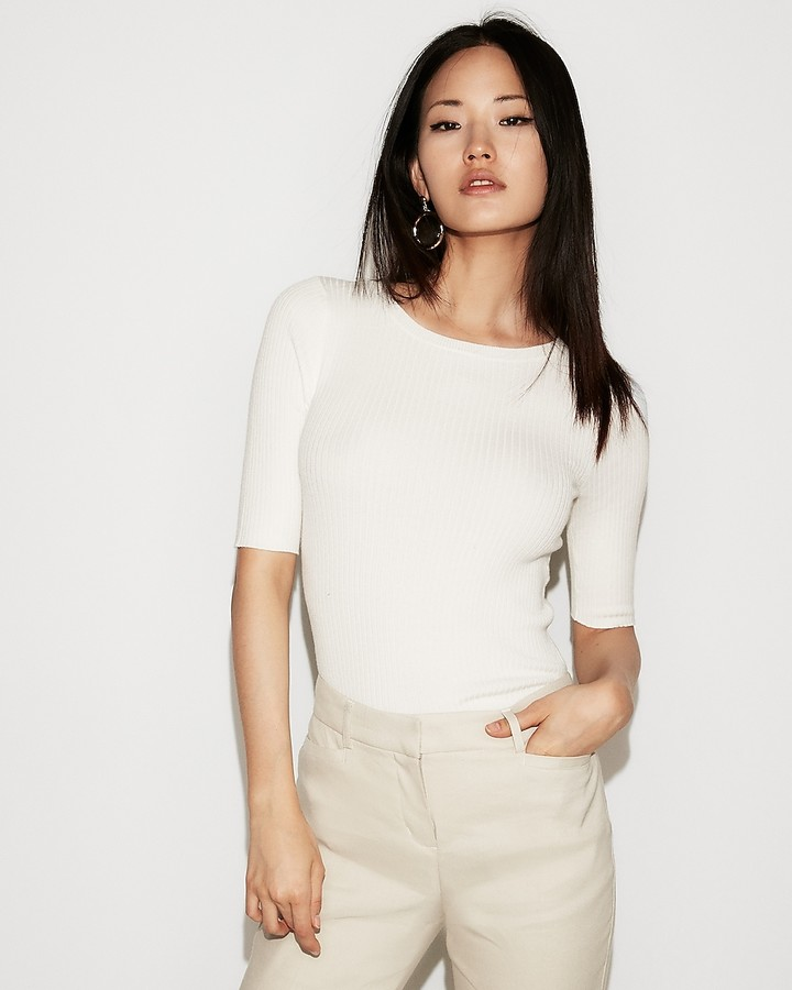 Express Ribbed Elbow Sleeve Sweater