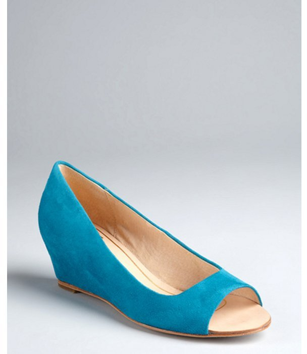 Dolce Vita teal suede 'Illa' open toe mini-wedges