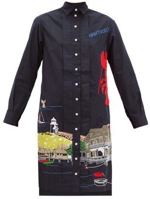 Kilometre Paris - Nantucket Embroidered Cotton Shirt Dress - Blue Multi