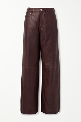Rag & Bone Leather Wide-leg Pants - Brown