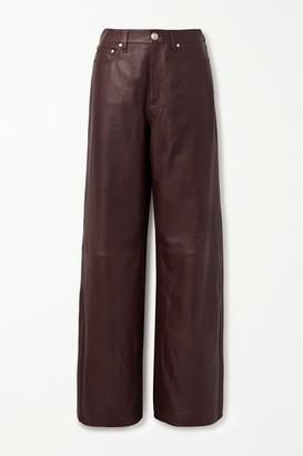 Rag & Bone Leather Wide-leg Pants - Brown