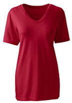 Classic Women's Petite Relaxed Supima V-neck T-shirt-Rich Sapphire