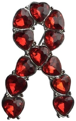Eyewearstraps NEW Design Red Heart Gemstone Silver Ribbon Aids/HIV Stroke Awareness Pin Brooch