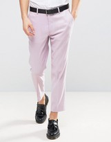 Asos Skinny Cropped Trousers In Linen Mix