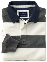 Charles Tyrwhitt Classic Fit Grey and White Striped Rugby Cotton Shirt Size XXL