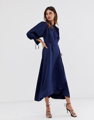Asos tie detail long sleeve midi dress
