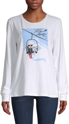 Karl Lagerfeld Paris Ski Lift Logo Graphic T-Shirt