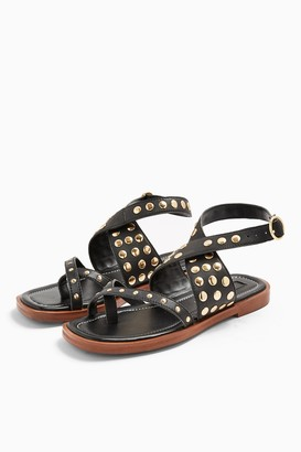 Topshop PARADISE Black Leather Sandals