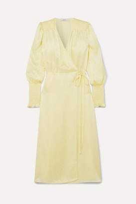 Art Dealer - Kate Polka-dot Silk-jacquard Wrap Dress - Pastel yellow