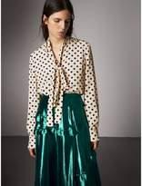 Burberry Polka-dot Silk Tie-neck Shirt