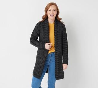 Aran Craft Merino Wool Open Front Cardigan with Pockets