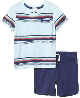 Splendid Littles Bright Stripe Tee Set (Toddler/Little Kids/Big Kids) (Plate Glass) Boy's Active Sets