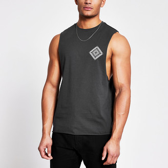 River Island Grey printed muscle fit tank top