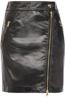 Moschino Zip-detailed Coated Denim Mini Skirt