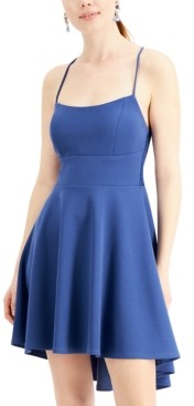 City Studios Juniors' Lace-Back High-Low Dress
