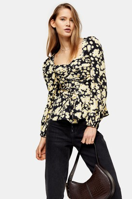 Topshop Yellow Daisy Lace Up Prairie Blouse