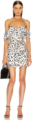 Self-Portrait Self Portrait Off Shoulder Leopard Dress in Cream & Black | FWRD