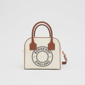 Burberry Small Logo Graphic Cotton Canvas Cube Bag