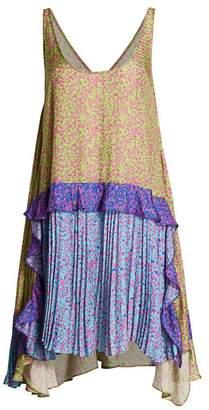 Tanya Taylor Cordelia Pleated Print Dress