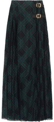 Philosophy di Lorenzo Serafini Leather-trimmed Pleated Lace Wrap Maxi Skirt