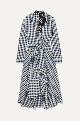 Maje Wrap-effect Floral-print Crepe-trimmed Gingham Seersucker Dress - Black