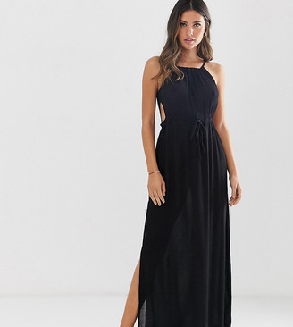 Akasa Exclusive keyhole cut out beach maxi dress in black
