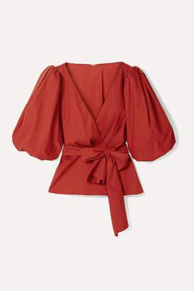 Johanna Ortiz El Amor De Mi Tierra Cotton-blend Poplin Wrap Blouse - Red