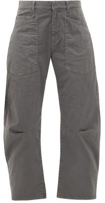 Nili Lotan Shon Cropped Cotton-blend Wide-leg Trousers - Grey